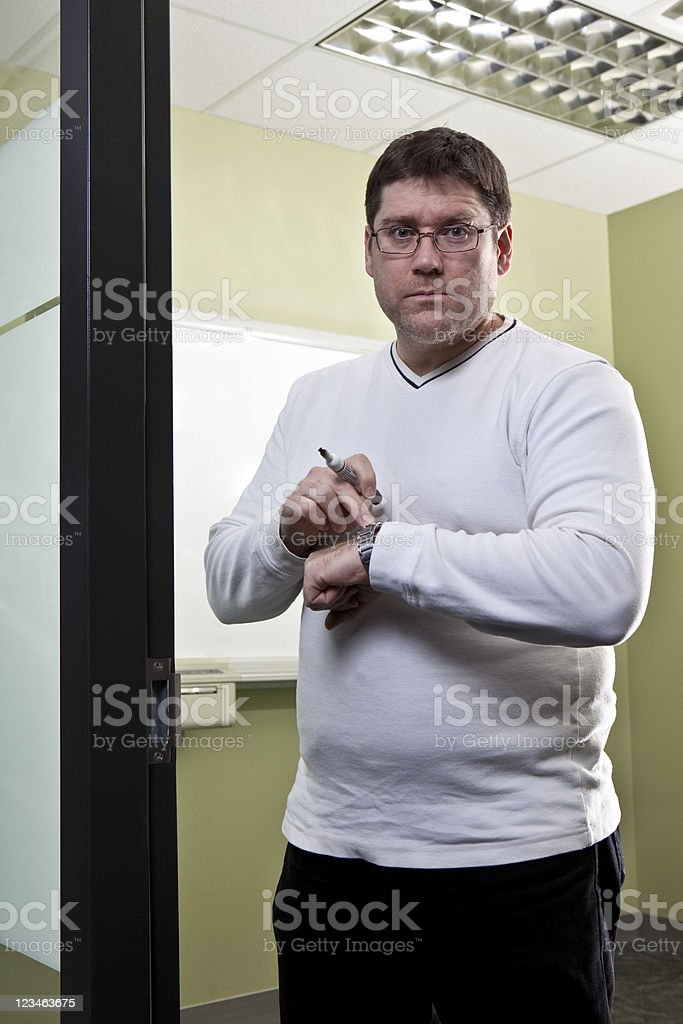 You`re late for the meeting ! stock photo