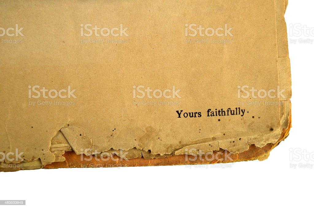 Yours Faithfully stock photo