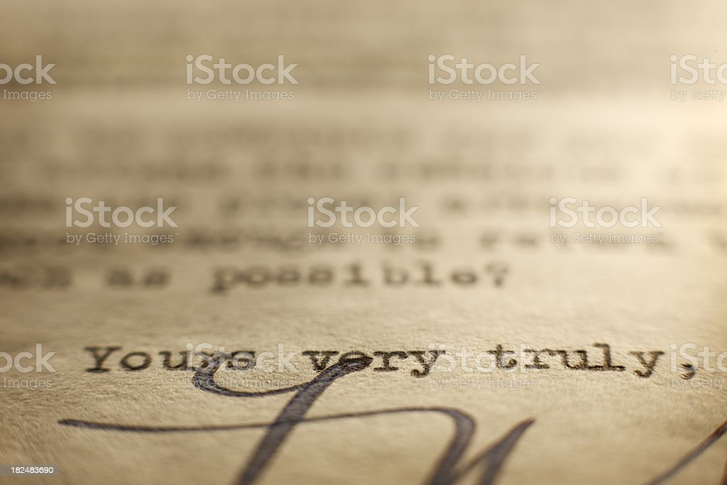 Yours Very Truly royalty-free stock photo