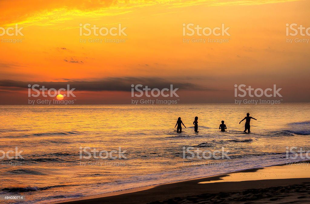 Youth and Sunset in Sabaudia stock photo
