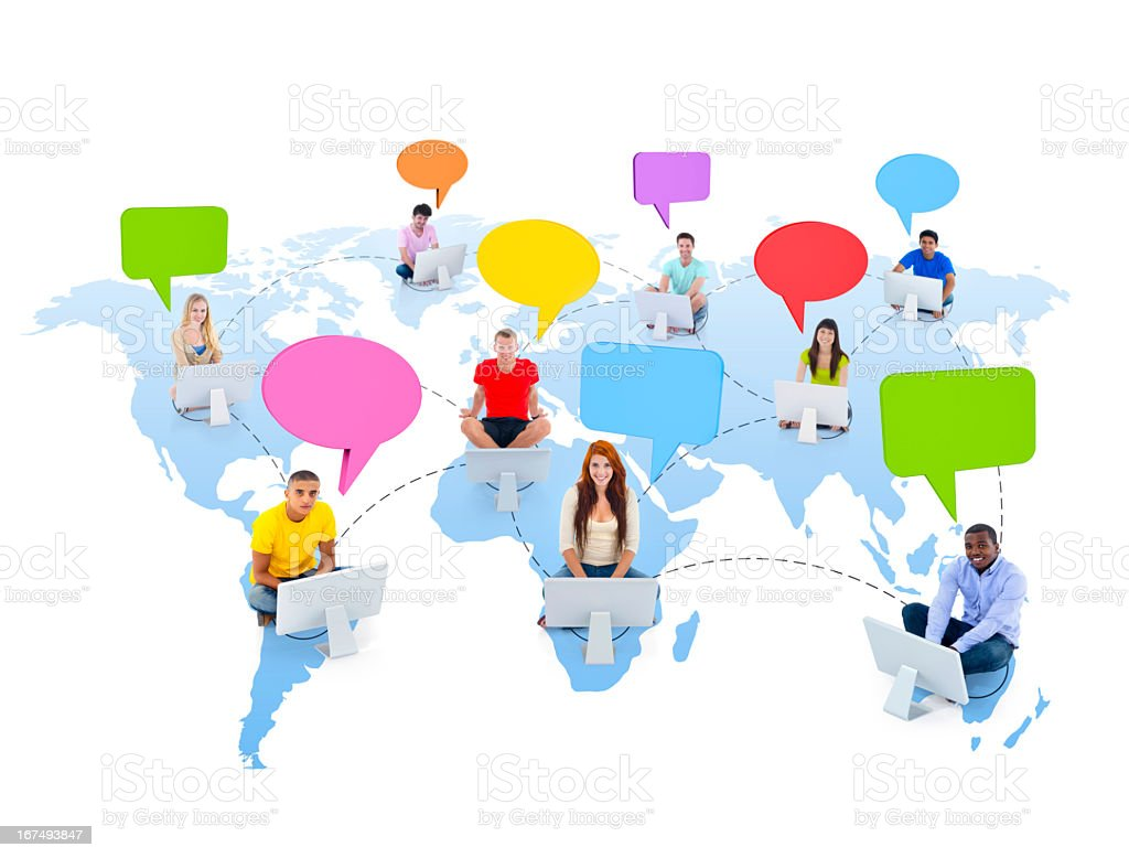 Youth around the world with computers and thought bubbles royalty-free stock photo