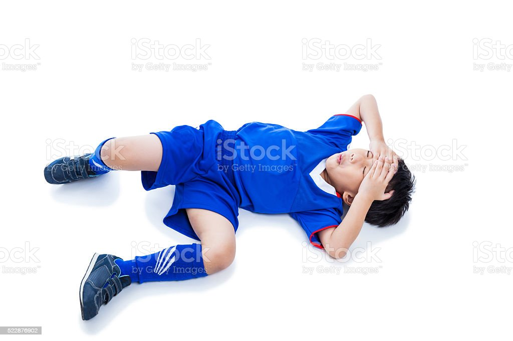 Youth asian soccer player with painful. Isolated on white. Full stock photo