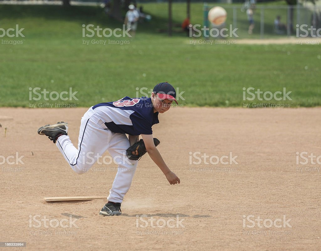 Youth baseball pitcher with clipping path stock photo