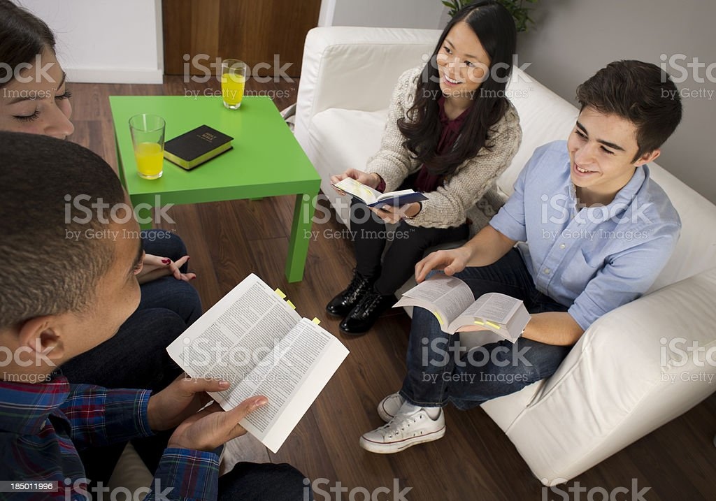 youth bible group stock photo