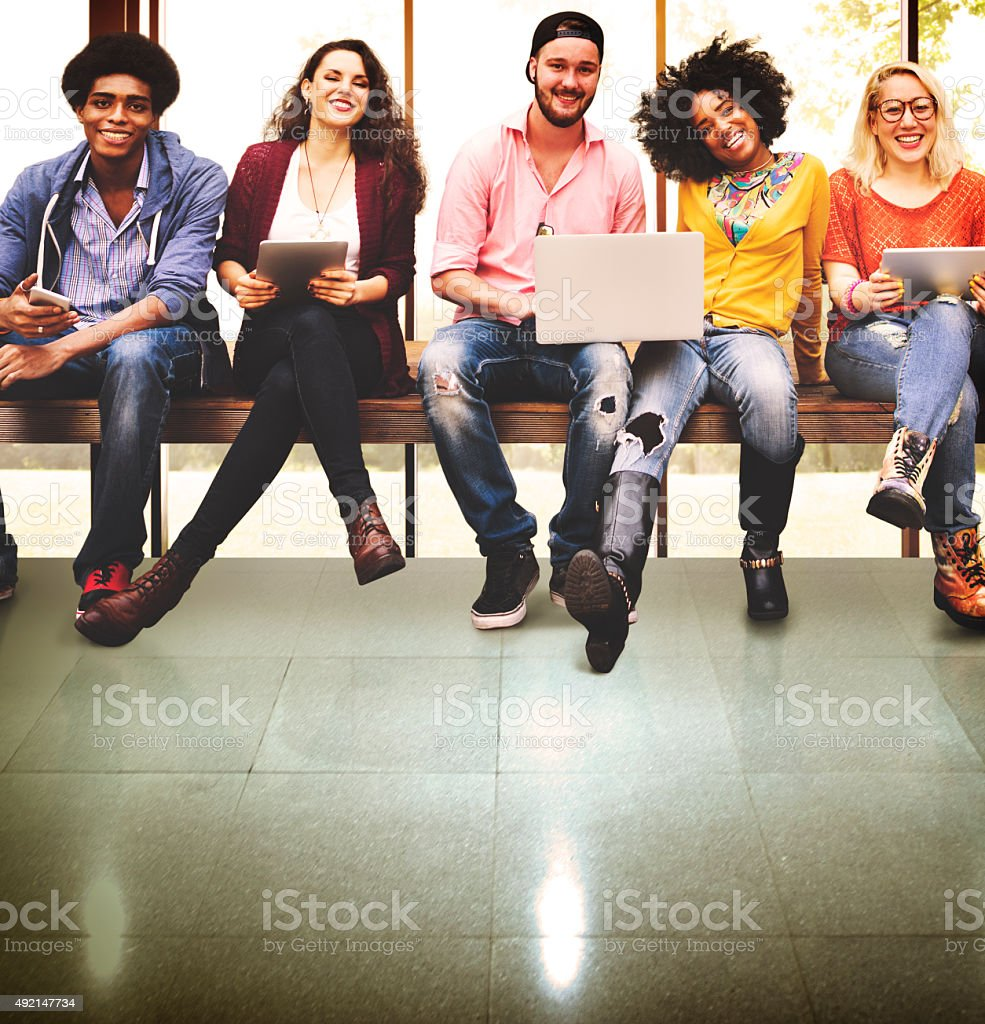 Youth Friends Friendship Technology Together Concept stock photo