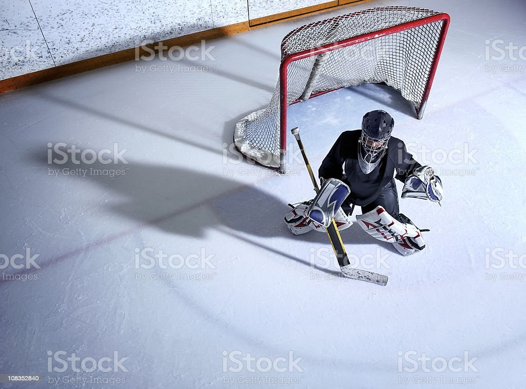 Youth Hockey Goalie stock photo