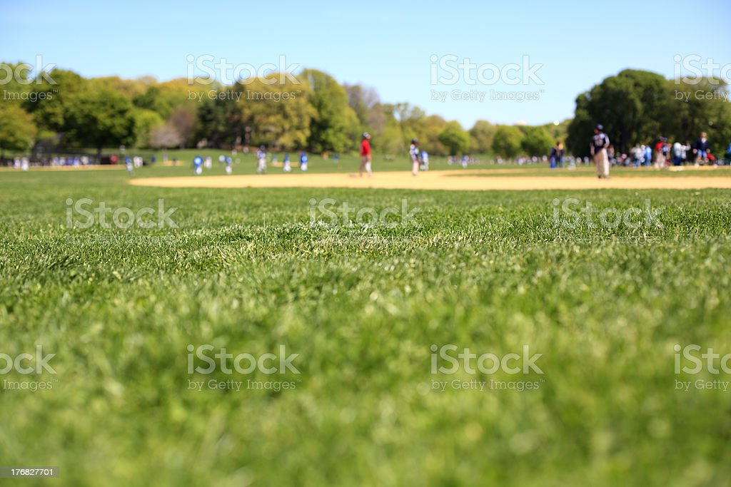 Youth league baseball game stock photo