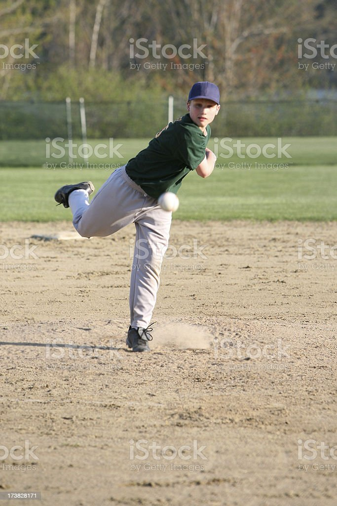youth league baseball pitcher royalty-free stock photo
