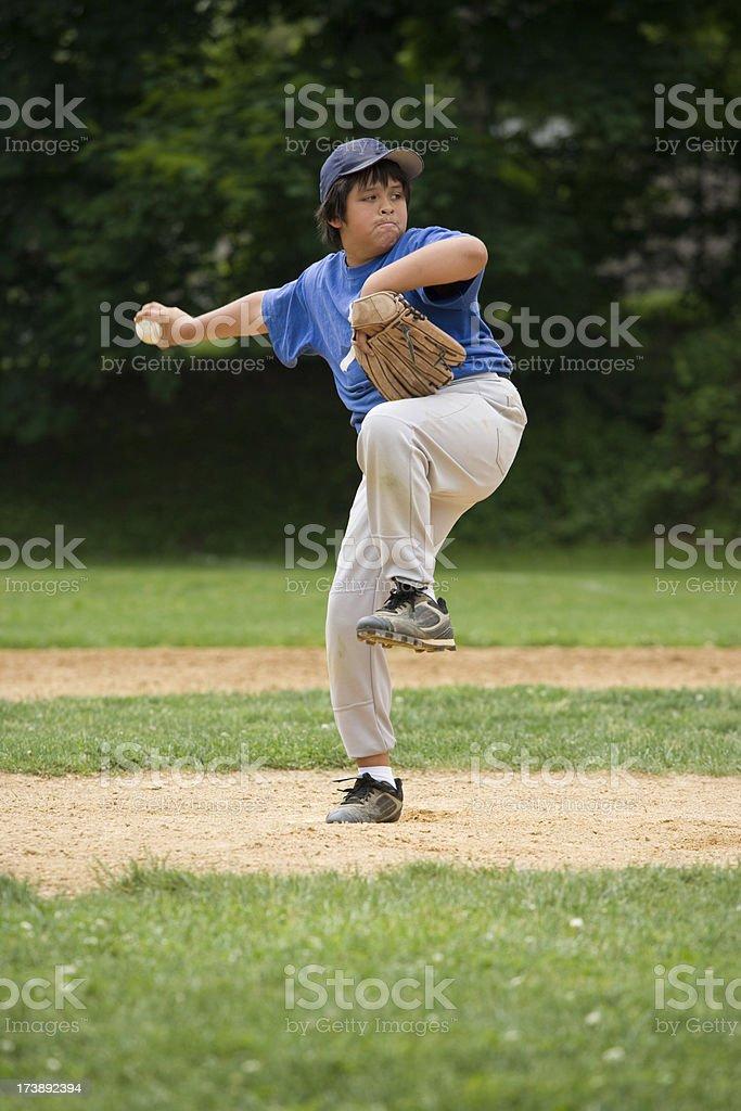 Youth league baseball pitcher royalty-free stock photo