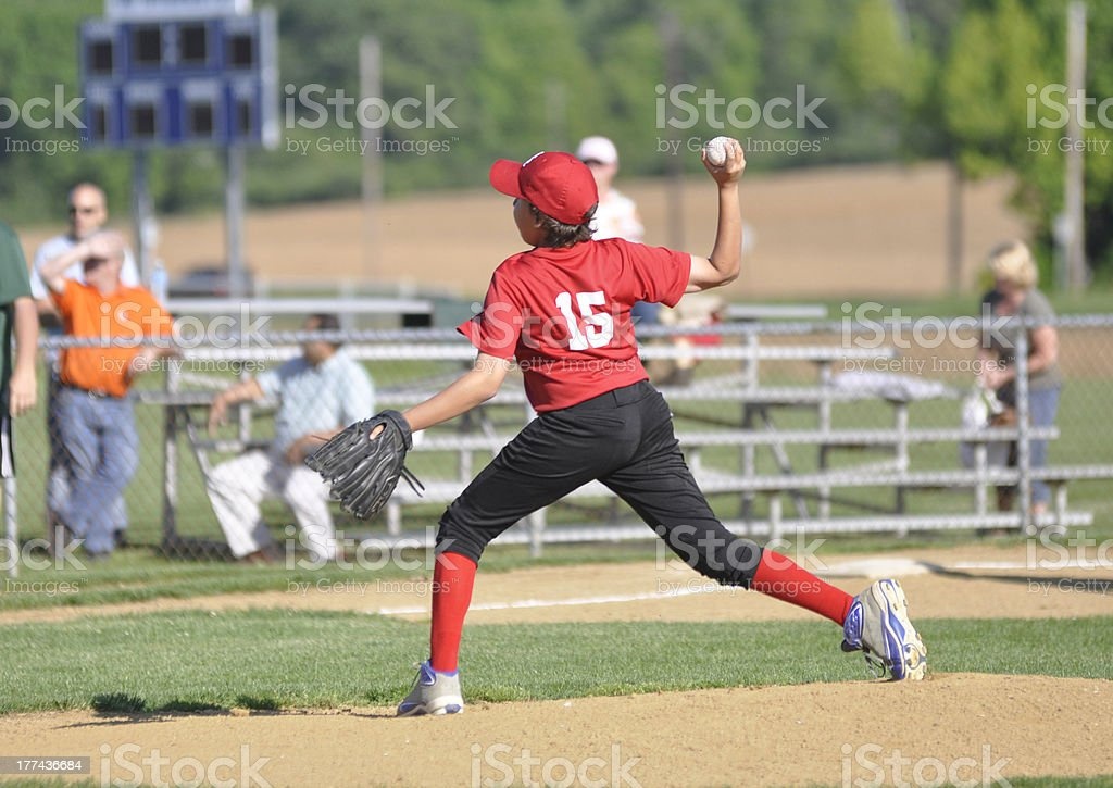 youth league baseball pitcher stock photo