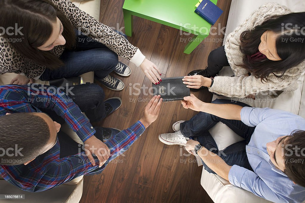 youth prayer meeting stock photo