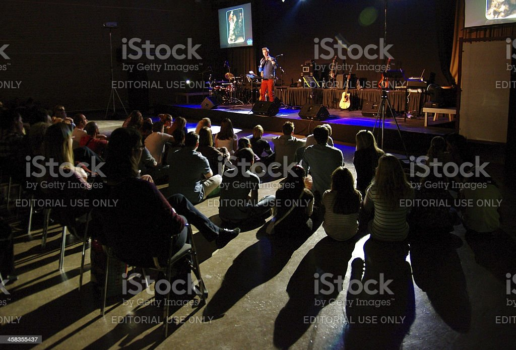 Youth service in Church royalty-free stock photo