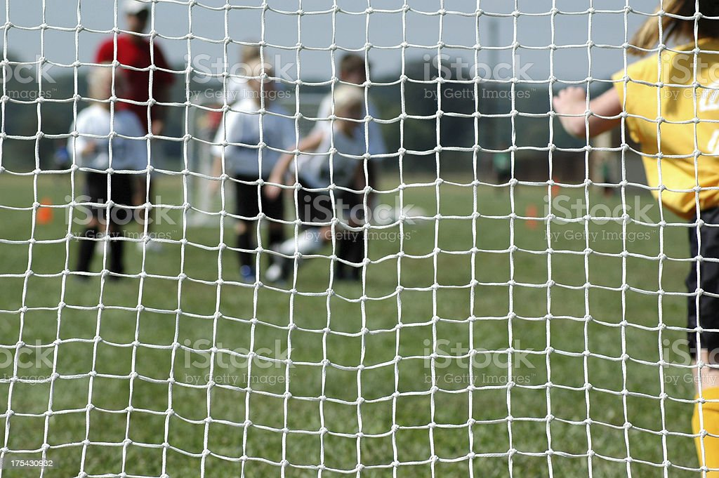 Youth Soccer - Defending the Goal royalty-free stock photo