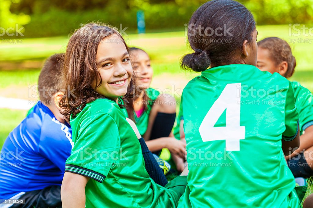Youth soccer team at practice stock photo