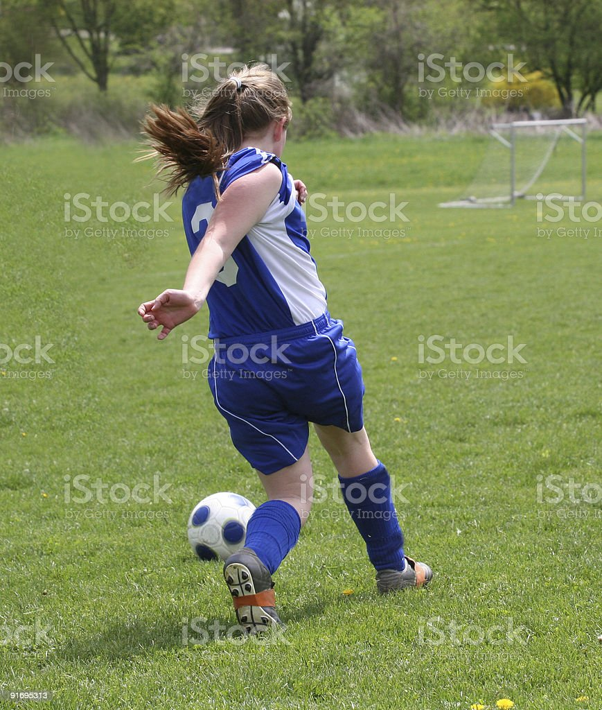 Youth Teen Soccer Player in Action royalty-free stock photo
