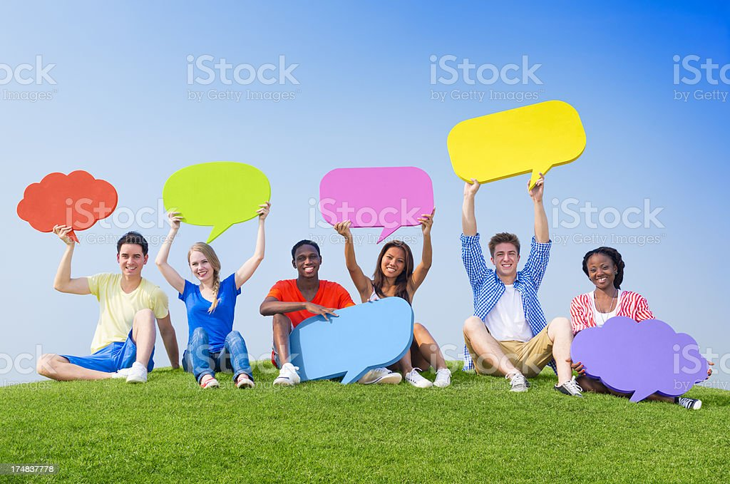 Youth with Social Media Symbol royalty-free stock photo