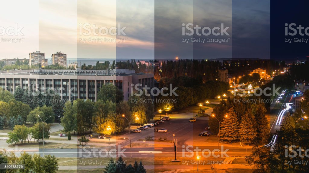 Youths square at city council at night, aerial view stock photo