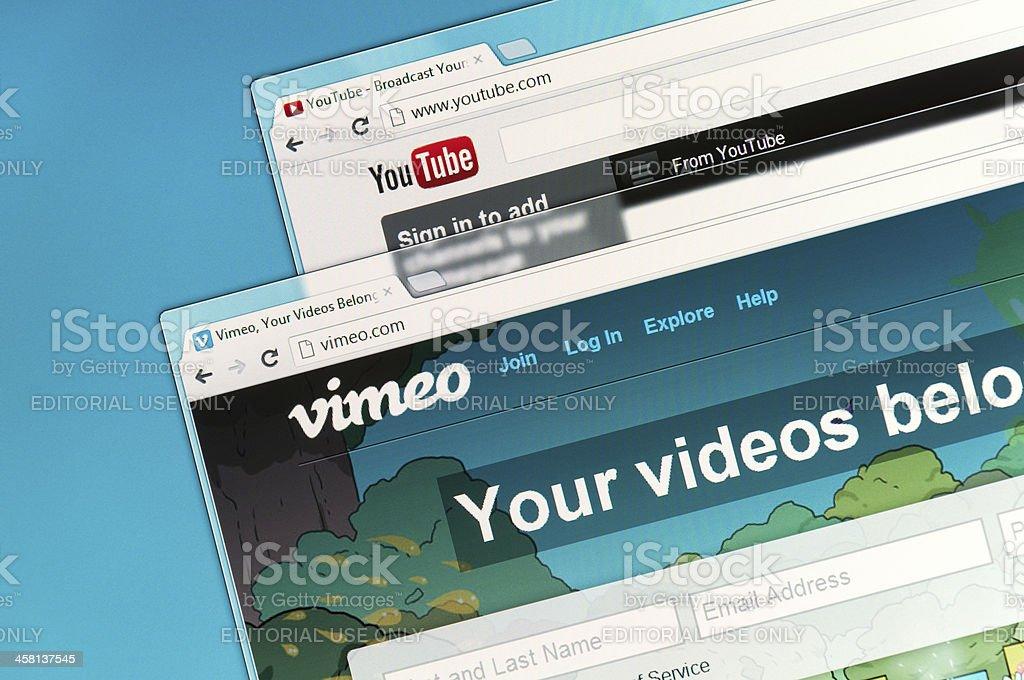 YouTube and Vimeo stock photo