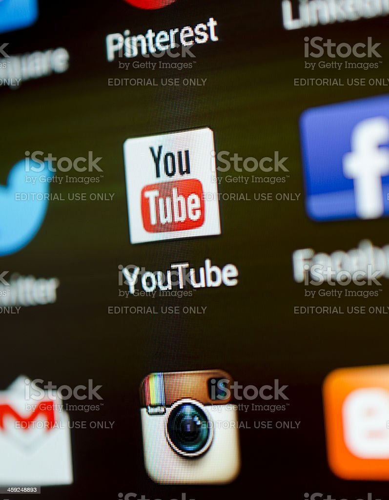 Youtube app stock photo
