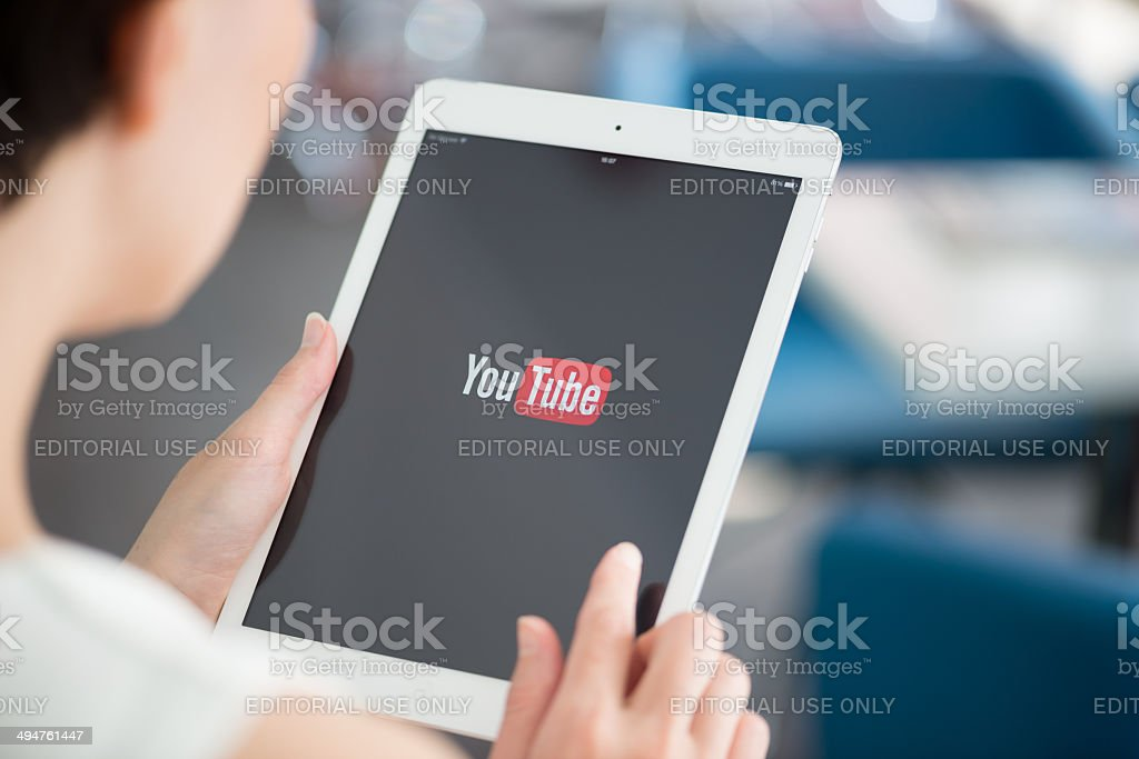 YouTube application on Apple iPad Air stock photo