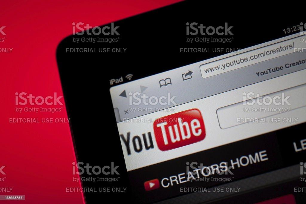 YouTube home screen on iPad stock photo