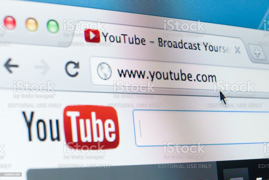 Youtube Homepage Close-up on LCD Screen, Chrome Web Browser stock photo