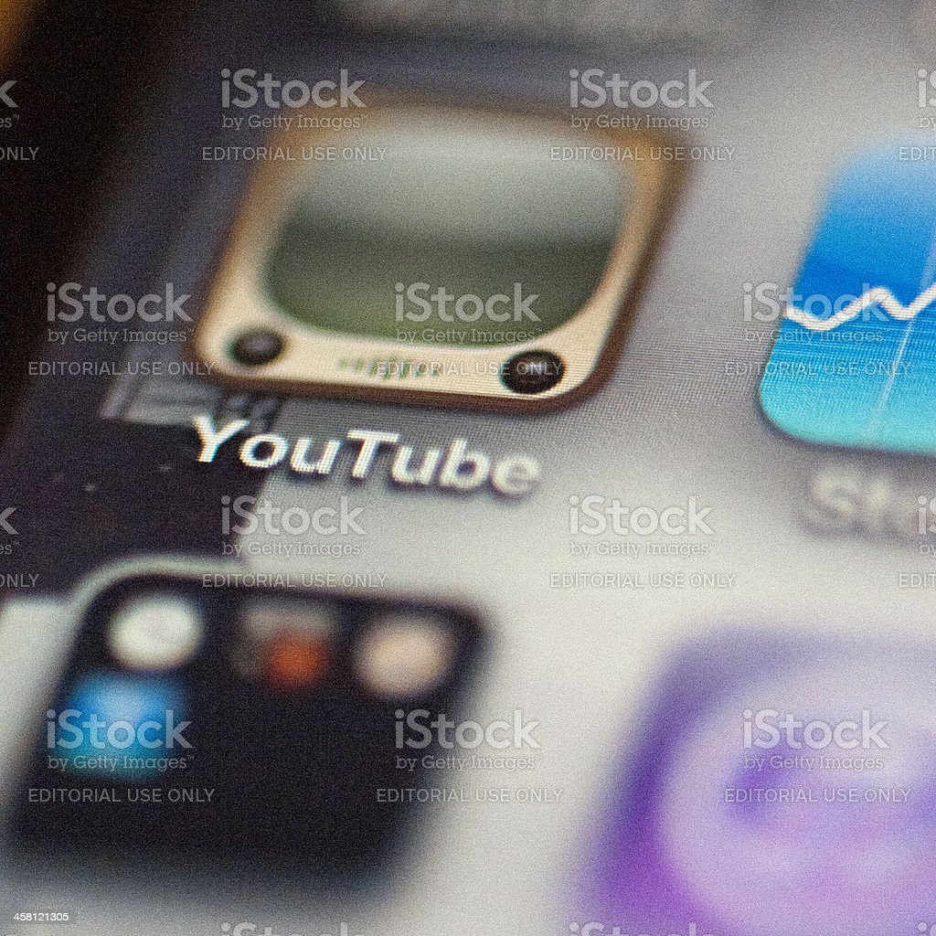 Youtube icon on an iphone royalty-free stock photo