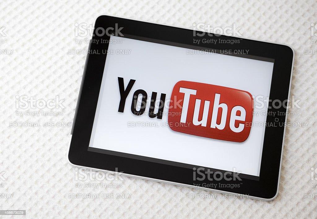 Youtube logo on iPad screen stock photo