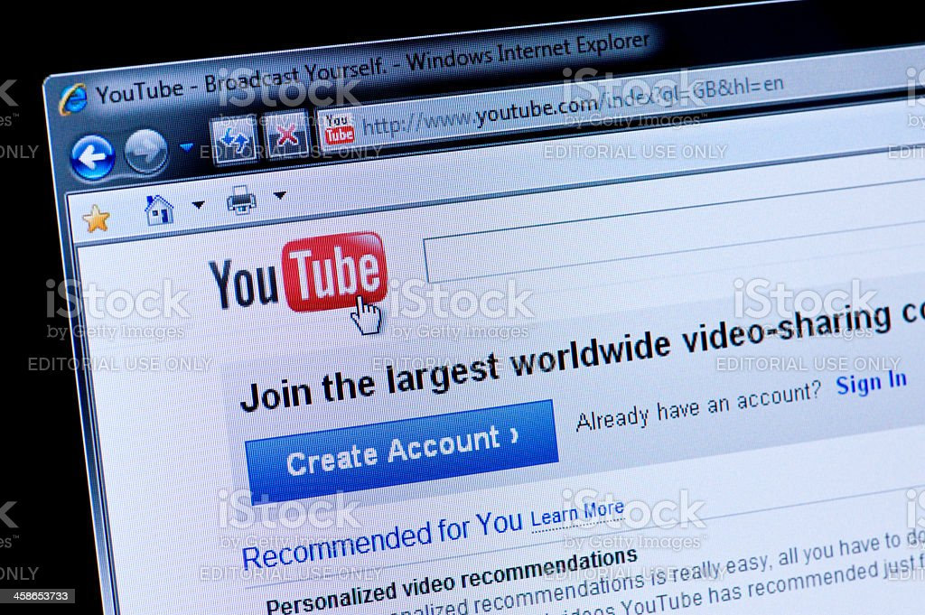 Youtube - Macro shot of real monitor screen royalty-free stock photo