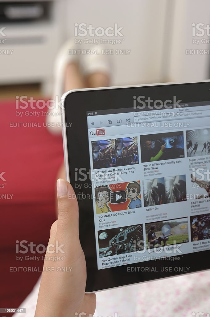 Youtube on iPad royalty-free stock photo