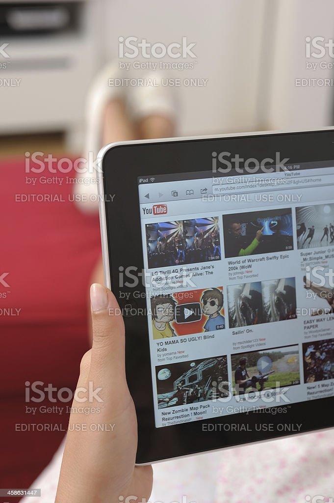 Youtube on iPad stock photo