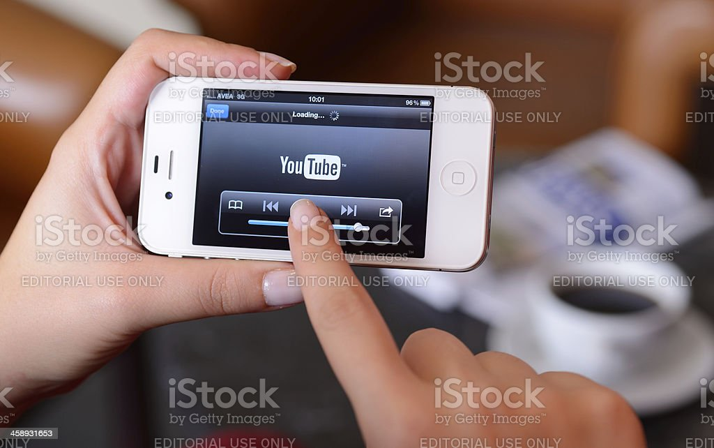 Youtube on iPhone stock photo