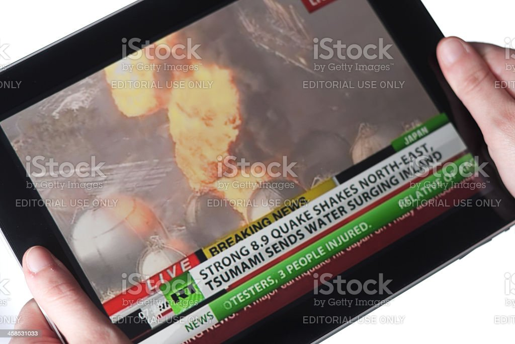 YouTube video about the earthquake in Japan, March 2011. stock photo