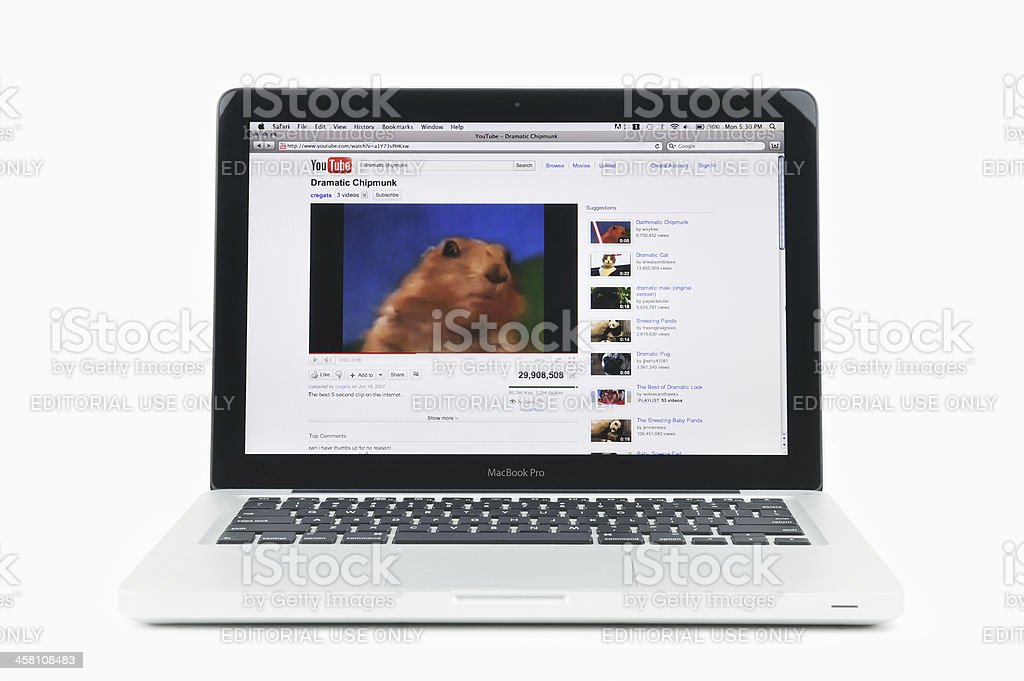 YouTube Video of Overly Dramatic Prairie Dog on MacBook Pro stock photo