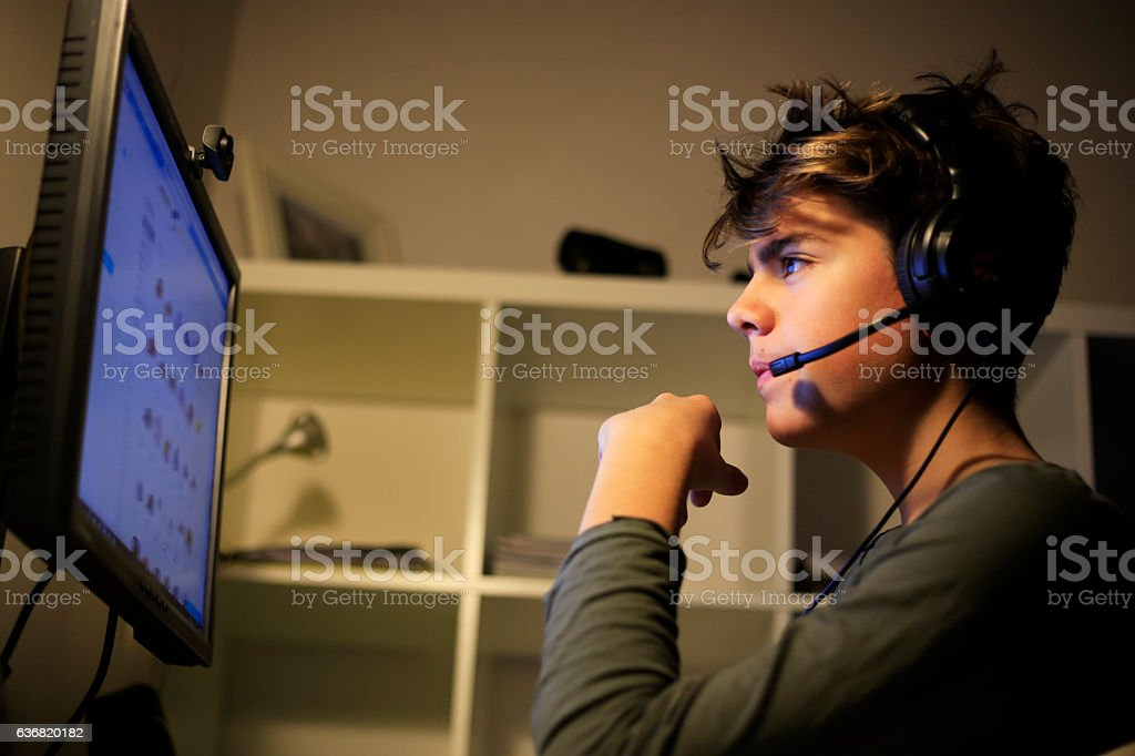 YouTubers life is in front of the the computer stock photo