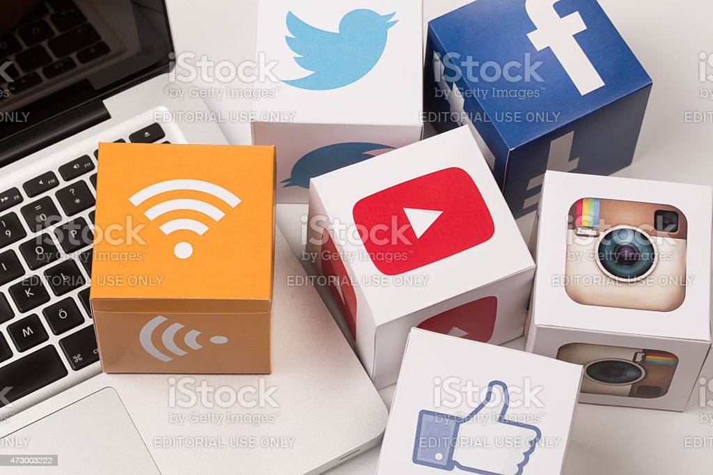 Youtube,Twitter,Facebook,Instagram Icons stock photo