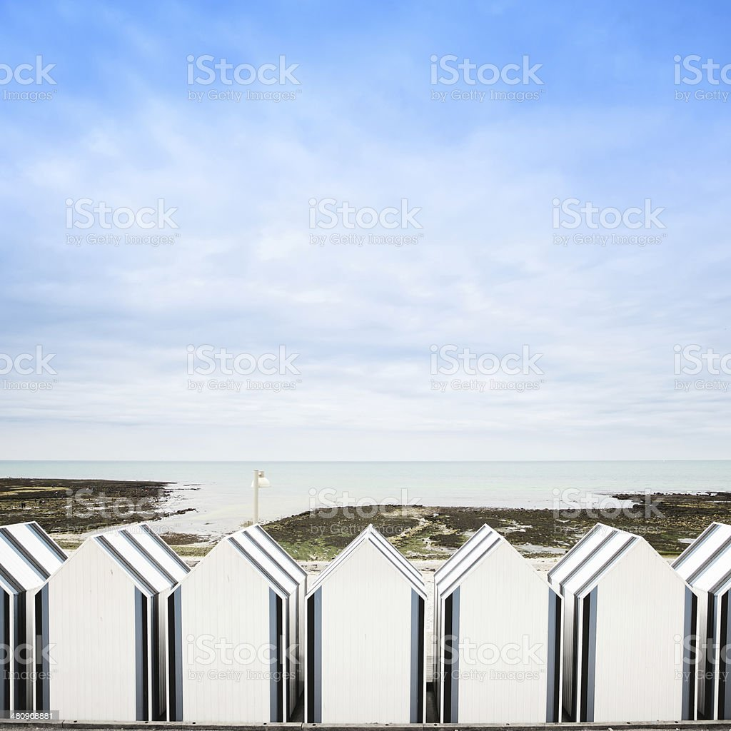Yport, between Etretat and Fecamp, Normandy. Beach huts or cabin stock photo