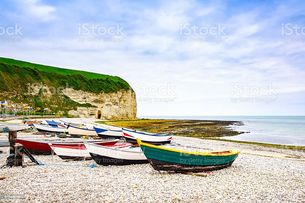 Yport Fecamp village, bay beach, cliff and boats. Normandy, Fran stock photo