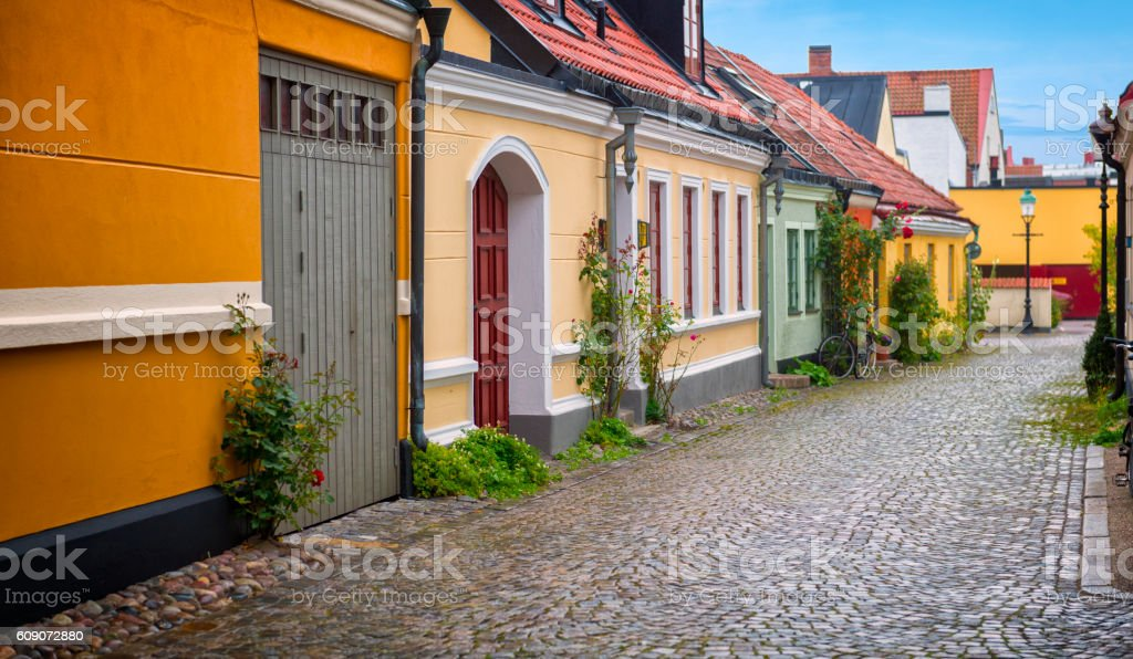 Ystad cobbled street stock photo