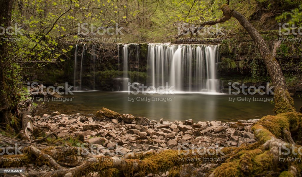 Ystradfellte waterfall in Brecon Beacons Wales stock photo