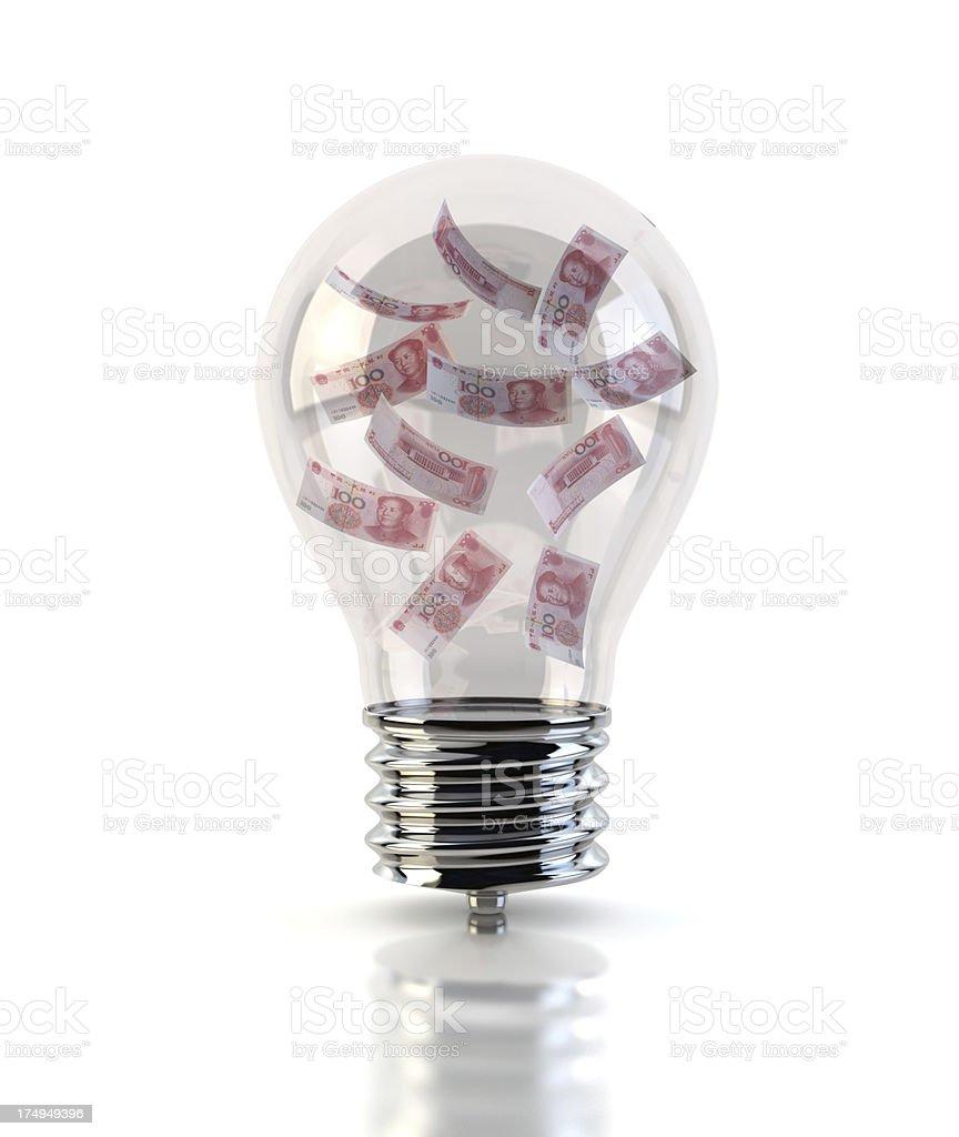 Yuan in Light Bulb royalty-free stock photo
