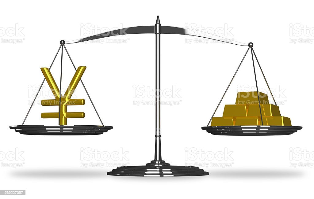 Yuan sign and gold bars on scales stock photo