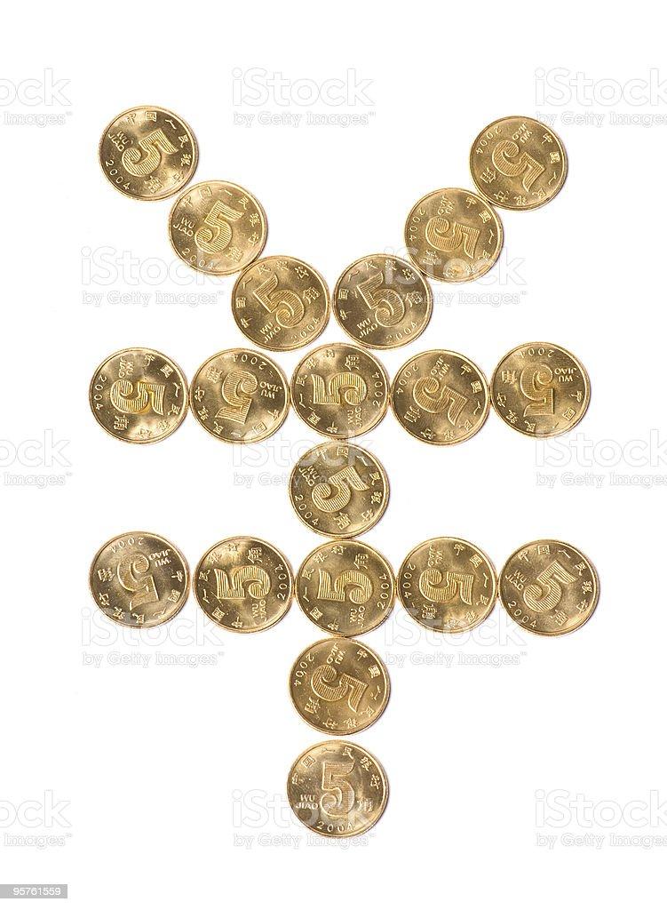 Yuan symbol stock photo