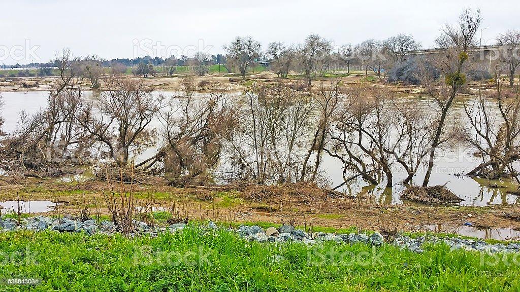 Yuba River Flooding at Marysville California Cell Phone stock photo
