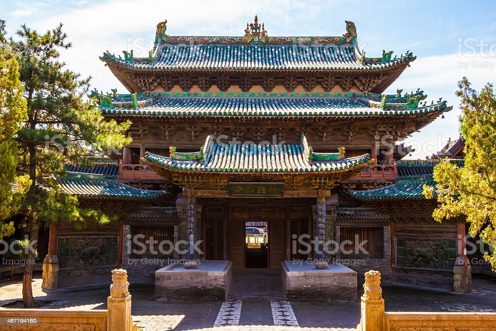 Yuci old town scene-Building of City God Temple stock photo