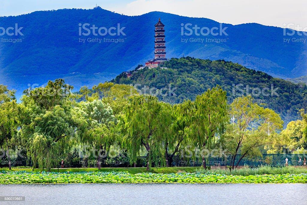 Yue Feng Pagoda Willow Trees Summer Palace Beijing China stock photo