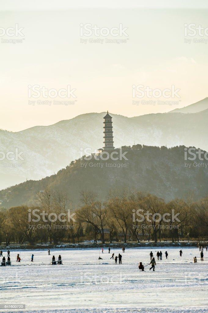 Yufeng Pagoda, west side of Summer Palace stock photo