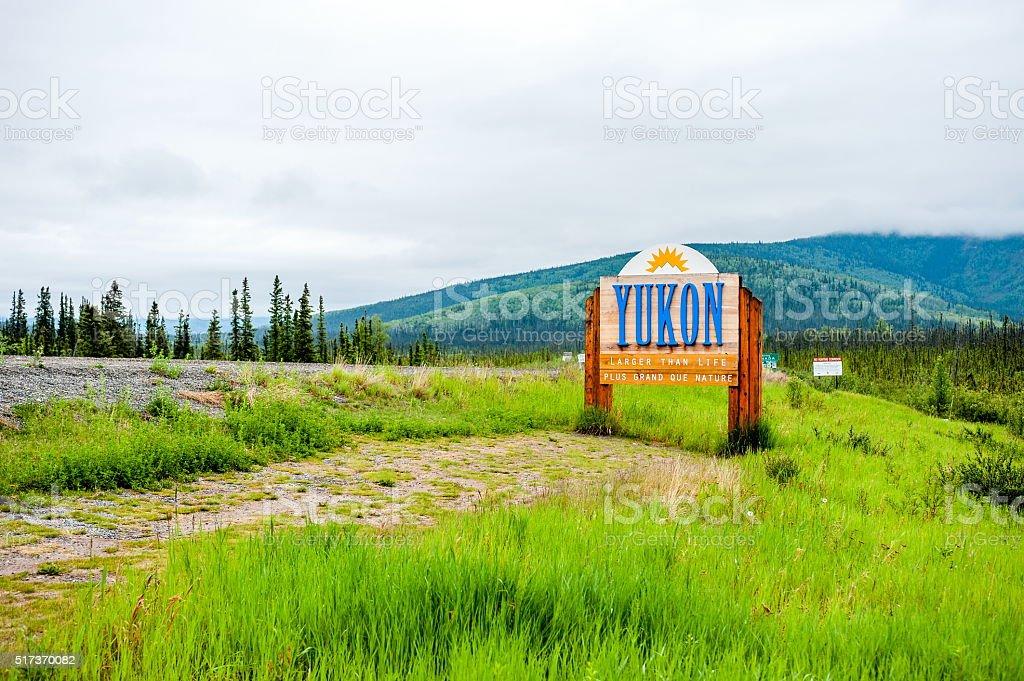 Yukon Boarder Sign stock photo