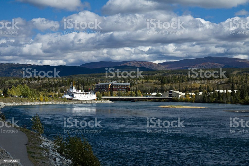Yukon River and paddlewheeler S.S. Klondike. Whitehorse, Yukon stock photo