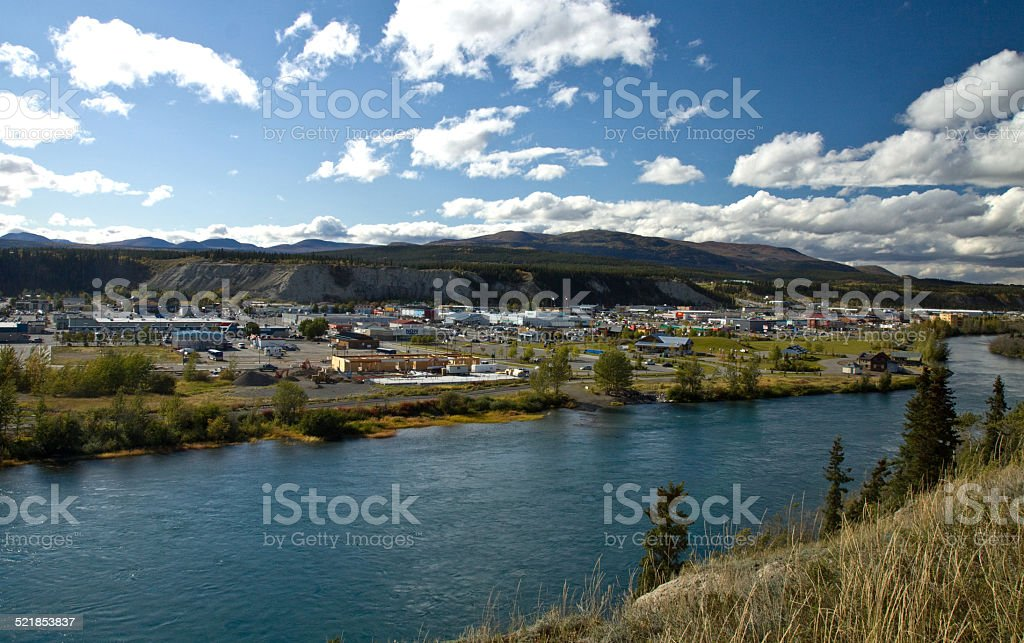 Yukon River and the city of Whitehorse, Yukon, Canada stock photo